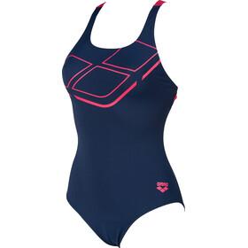 arena Essentials Swim Pro Back Costume da bagno intero Donna, blu/rosa